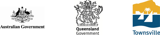 Logos for the Australian Government, Queensland Government and Townsville City Council.