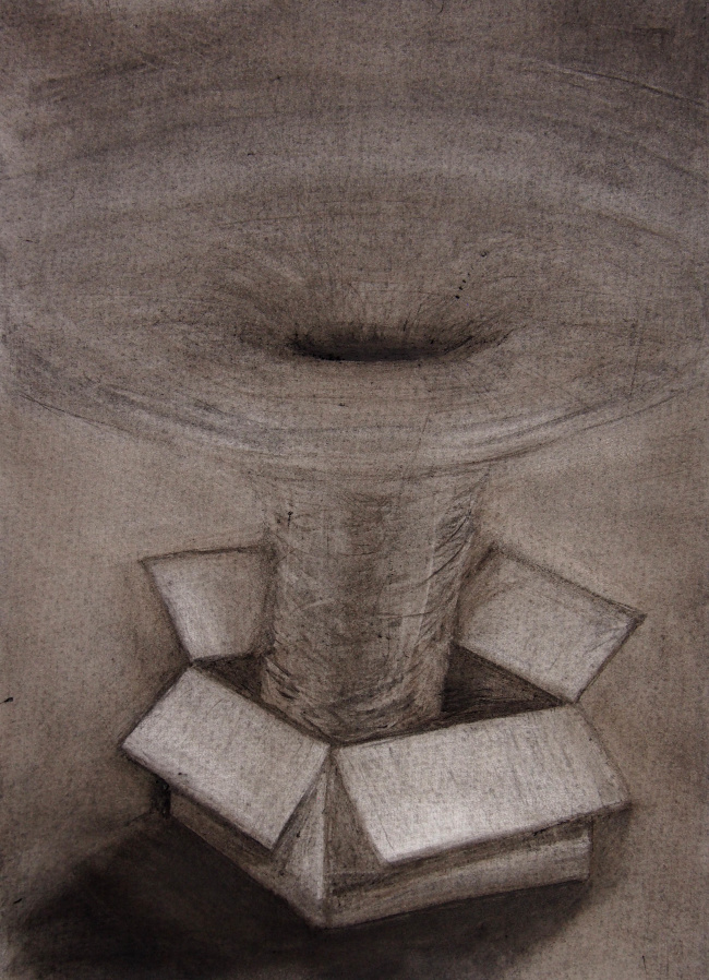 Image: Jamie Banks, Out of the Box [detail] 2020, charcoal on cartridge paper, 59 x 42 cm. Courtesy of the Artist