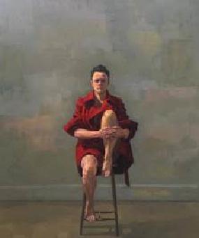 Self Portrait, Balancing in the big red coat 2017