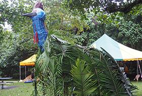 Leonard Andy, Nina Dawson, Gunduy Midja, lawyercane, palm leaves, native plants, natural fibre fabrics and natural plant dyes, 700 x 600 x 600 cm.